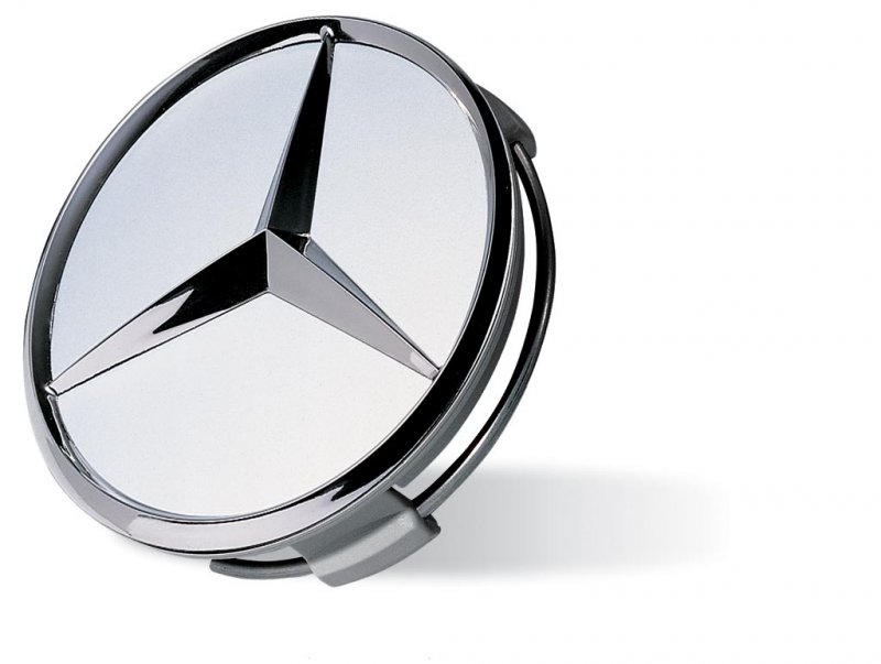 Radnabenabdeckung Chrom Mercedes-Stern auf silbernen Hintergrund  B 66470206