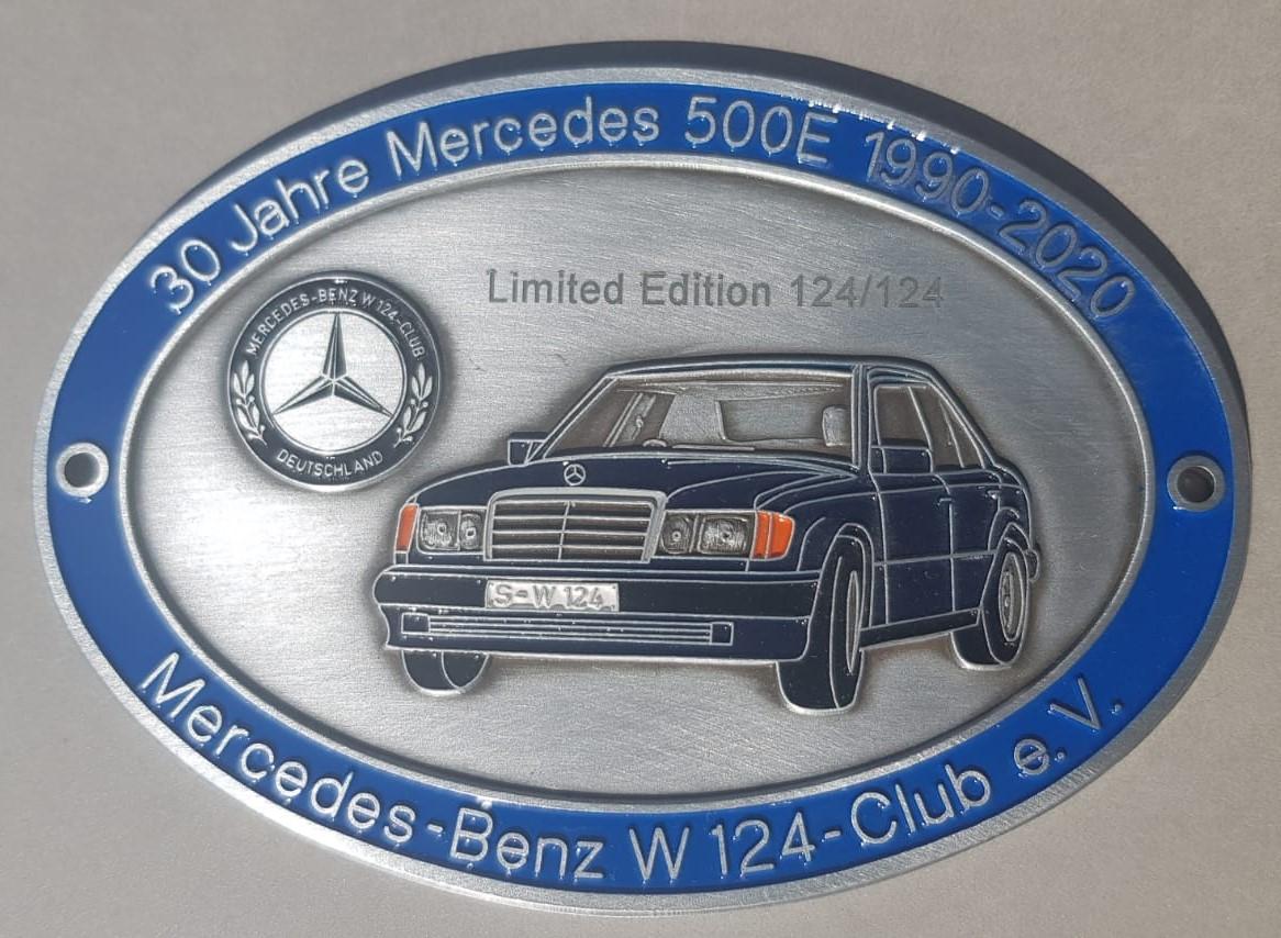 Jubiläumsplakette 30 Jahre Mercedes 500E